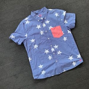 American Eagle Short Sleeve Button Up American L